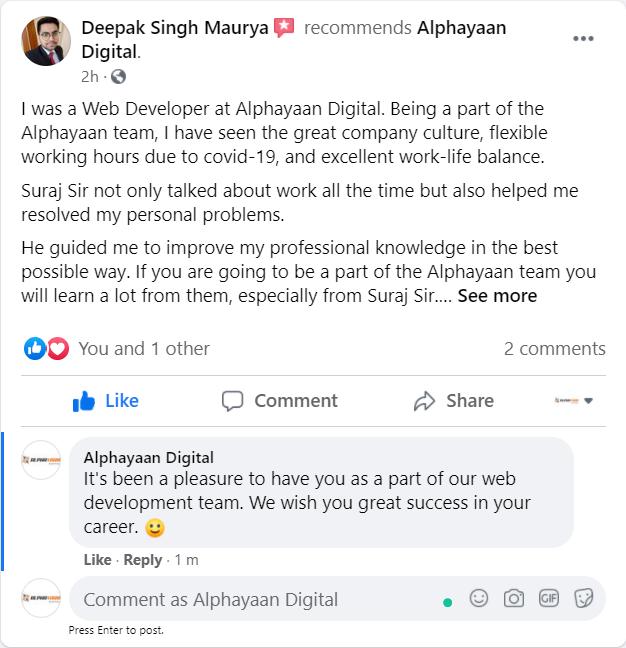 Facebook - Deepak Singh - Web Developer - Alphayaan Digital Review
